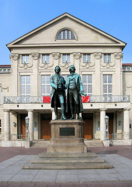 The Goethe and Schiller statue in Weimar, created by Ernst Rietschel (1804–61)
