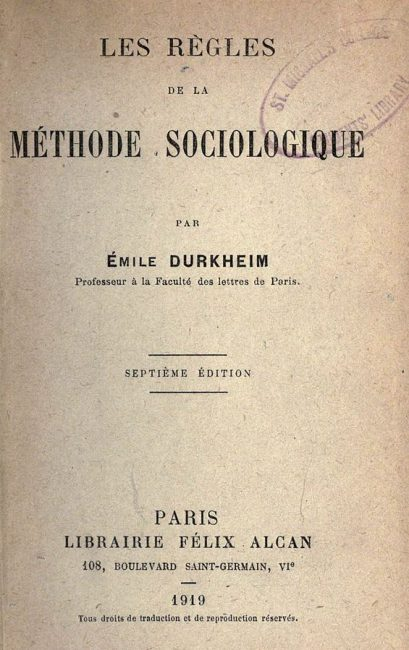Cover of the French edition of The Rules of the Sociological Method