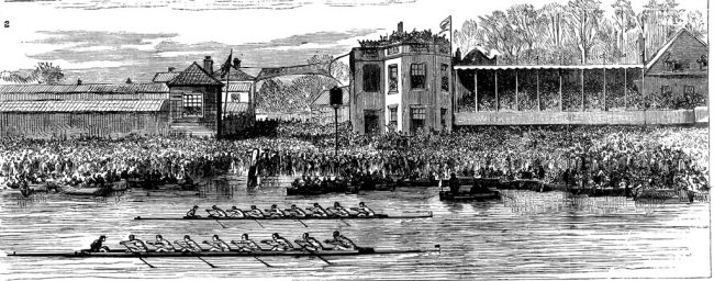 A portrayal of the dead heat finish in 1877.