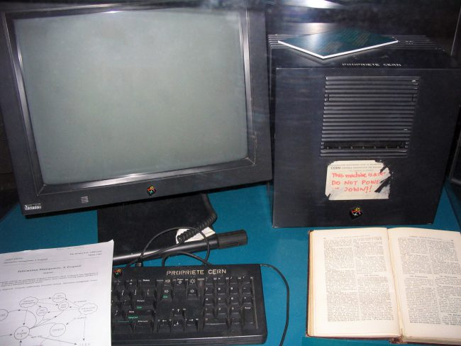 This NeXT Computer was used by Berners-Lee at CERN and became the world's first web server