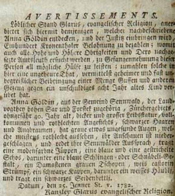 PROFILE, Zürcher Zeitung, February 9, 1782