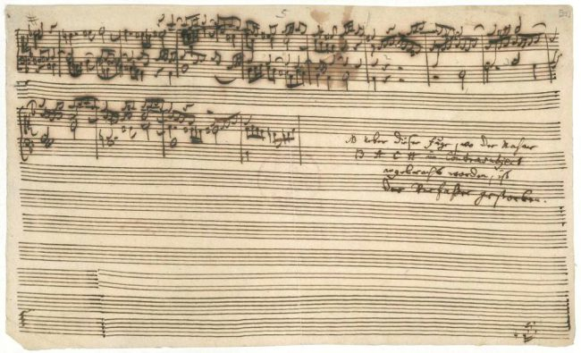 "Autograph of the end of the unfinished last fugue from the Art of Fugue with Carl Philipp Emanuel Bach's addition: ""NL above this fugue, where the name BACH was placed in the contrasubject, the writer has died."""
