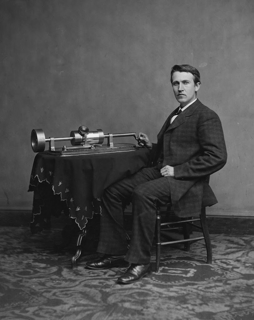 Thomas Edison and his early phonograph (1877) @Library of Congress