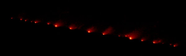 Shoemaker–Levy 9, disrupted comet on a collision course[1] (total of 21 fragments, taken on May 17, 1994)