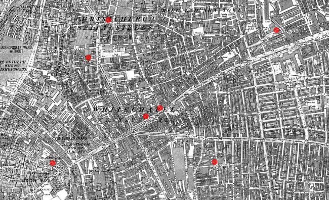 Streetmap showing the locations of the first seven