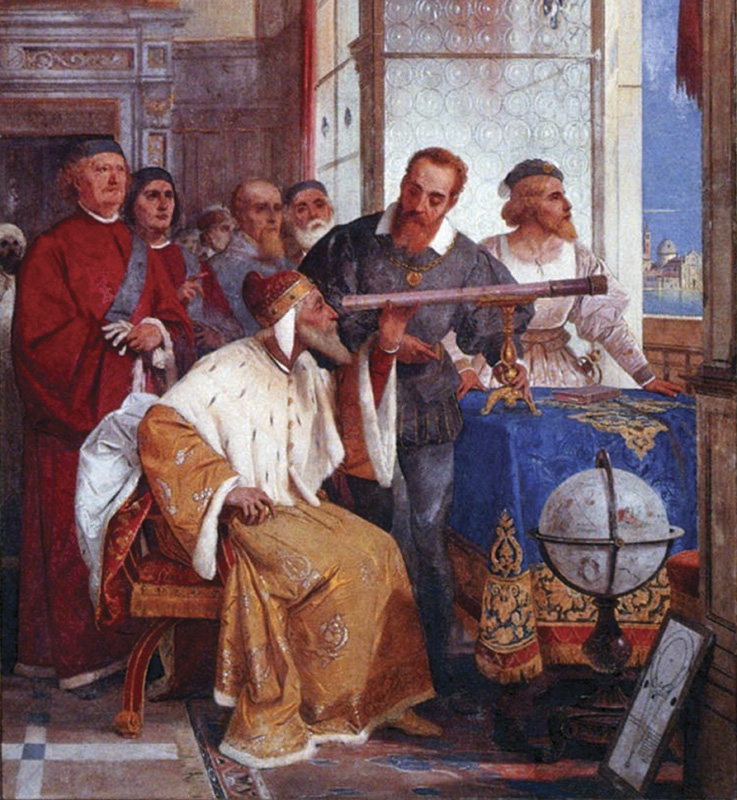 Galileo Galilei showing the Doge of Venice how to use the telescope, Fresco at Villa Andrea Ponti, Varese, 1858