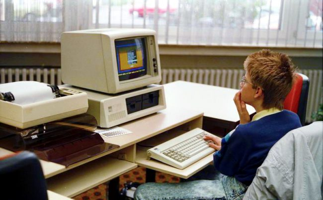 IBM Personal Computer with IBM CGA monitor , source: Bundesarchiv, B 145 Bild-F077948-0006