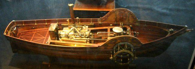 Model of steamship, built in 1784, by Claude de Jouffroy.