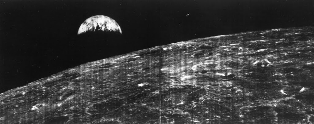 Crescent of the Earth, photographed August 23, 1966 at 16:35 GMT by Lunar Orbiter 1