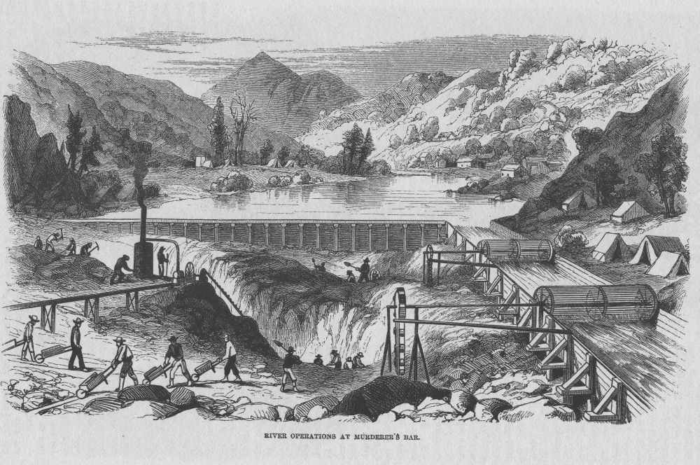 Seeking gold in the California river Source: Harper's Weekly magazine