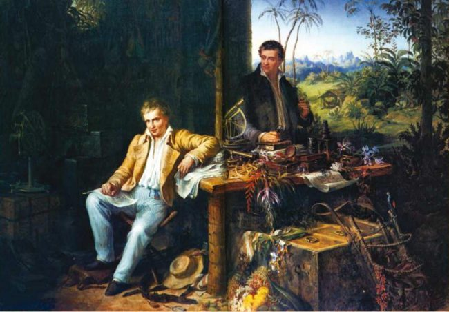 Alexander von Humboldt and Aimé Bonpland in the Amazon jungle.