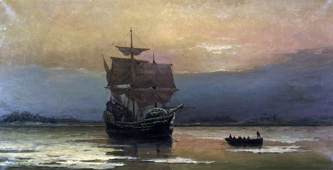 """Mayflower in Plymouth Harbor,"" by William Halsall, 1882"