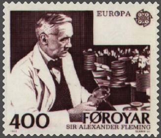 Alexander Fleming (1888-1951) on a stamp from Faroe Islands