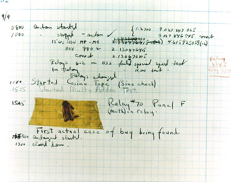 The first documented computer bug in a 1947 log file © Naval Surface Warfare Center, Dahlgren, VA