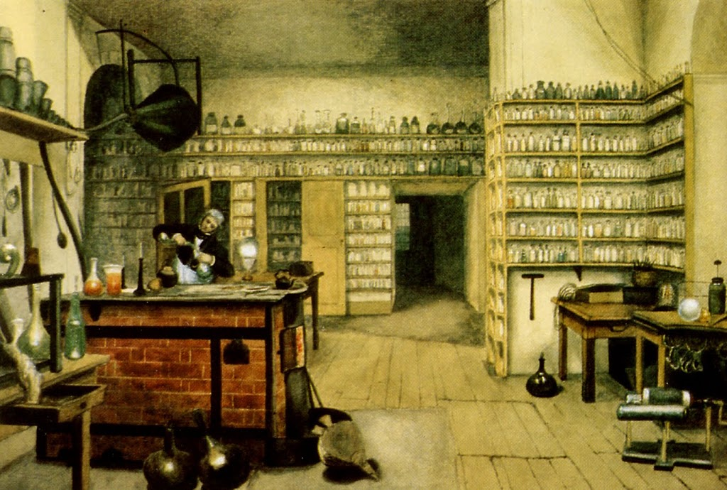 Michael Faraday (1791 - 1867) in his laboratory Painting by Harriet Moore