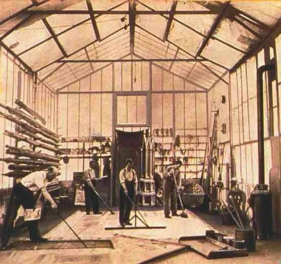 Georges Méliès (far left) in his original Star-Film studio in Montreuil