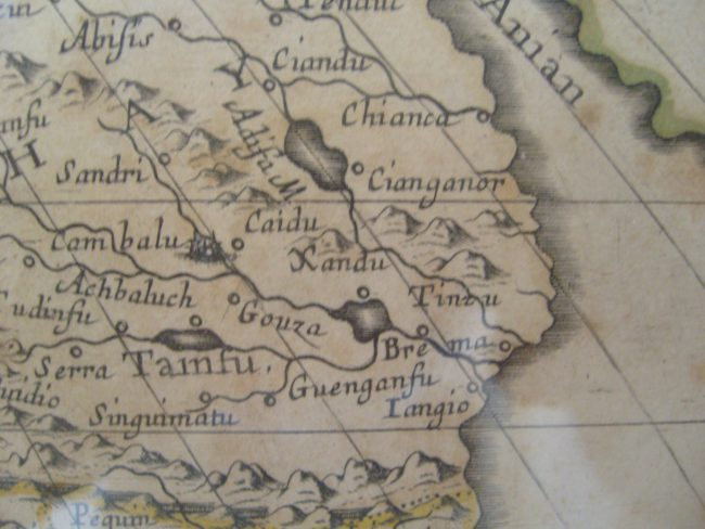 Xanadu (here spelled Xandu) on a map of Asia made by Sanson d'Abbeville, geographer of King Louis XIV, dated 1650.