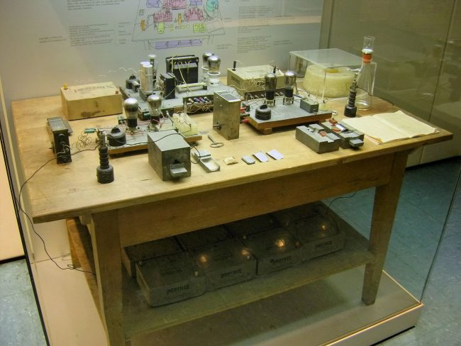 Nuclear fission experimental setup, reconstructed at the Deutsches Museum, Munich