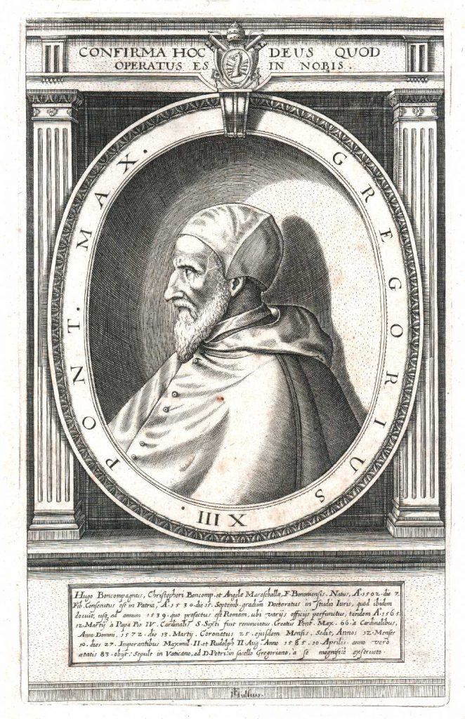 Pope Gregory XIII in an early 17th-century engraving