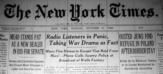 Headline of the New York Times from Oct, 31, 1938 about Orson Welles' 'War of the Worlds'