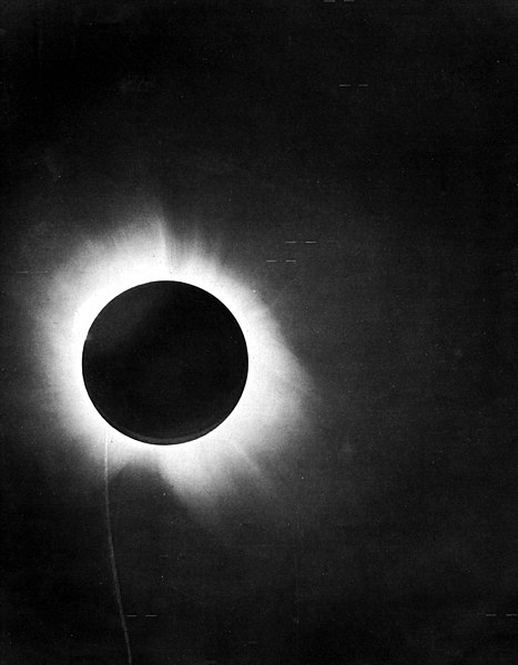 "One of Eddington's photographs of the total solar eclipse of 29 May 1919, presented in his 1920 paper announcing its success, confirming Einstein's theory that light ""bends"""
