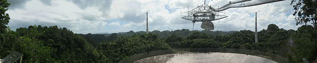 A wide panorama of the Arecibo radio telescope made from the observation deck.
