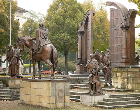 The bronze statues of the Göttingen Seven seen near to the federal state parliament in Hanover
