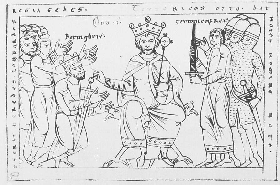 Otto I, Holy Roman Emperor's victory over Berengar, winning Italy, drawing in the Chronicle of Otto von Freising (Manuscriptum Mediolanense), Schäftlarn, before 1177