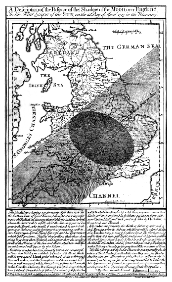 Halley's map of the path of the Solar eclipse of 3 May 1715 across England
