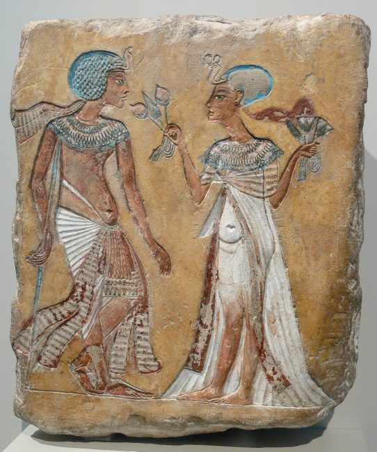 "Limestone relief ""Walk in the garden"" with a representation of Tutankhamun with walking stick and Anchesenamun, Neues Museum Berlin"