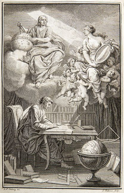 In the frontispiece to Voltaire's book on Newton's philosophy, Émilie du Châtelet appears as Voltaire's muse, reflecting Newton's heavenly insights down to Voltaire