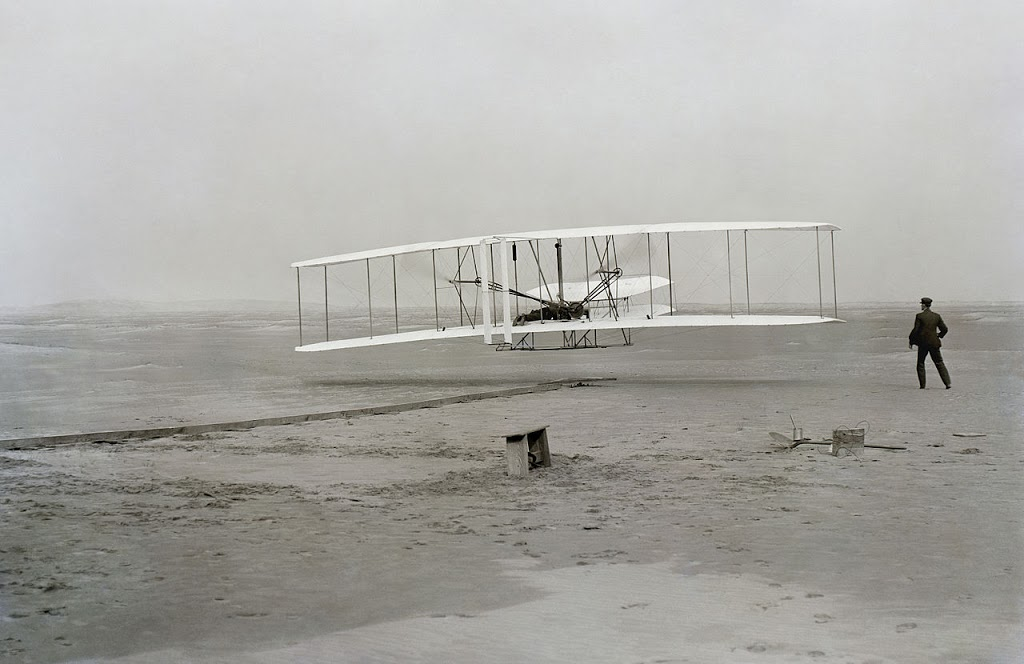 The first flight of the Wright Brothers on December 17, 1903