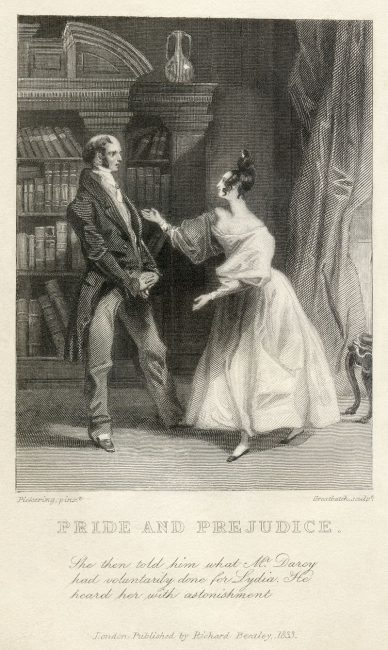 "One of the first two published illustrations of Pride and Prejudice, from the Richard Bentley edition.[155] Caption reads: ""She then told him [Mr Bennett] what Mr Darcy had voluntarily done for Lydia. He heard her with astonishment."""
