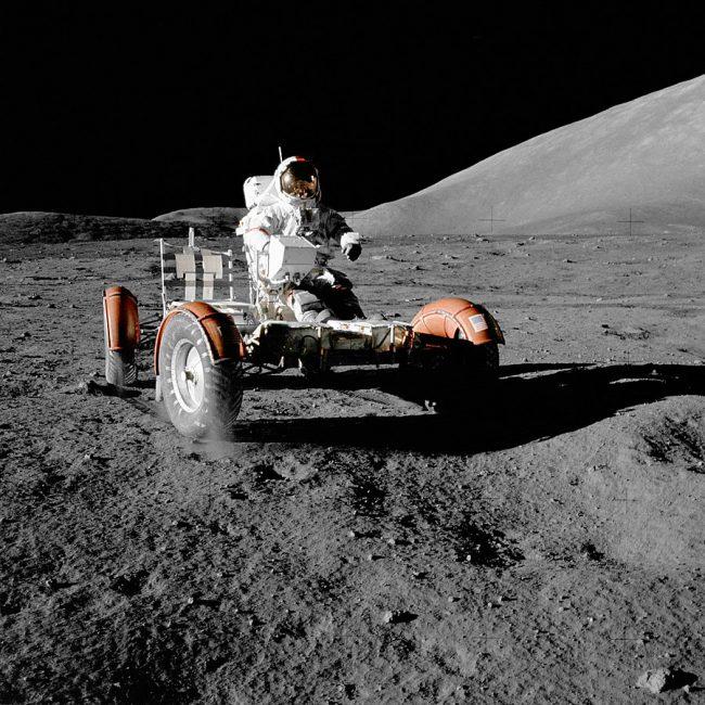 Eugene Cernan aboard the Lunar Rover during the first EVA of Apollo 17
