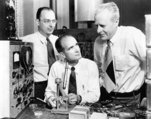 John Bardeen, William Shockley and Walter Houser Brattain, the inventors of the transistor, 1948