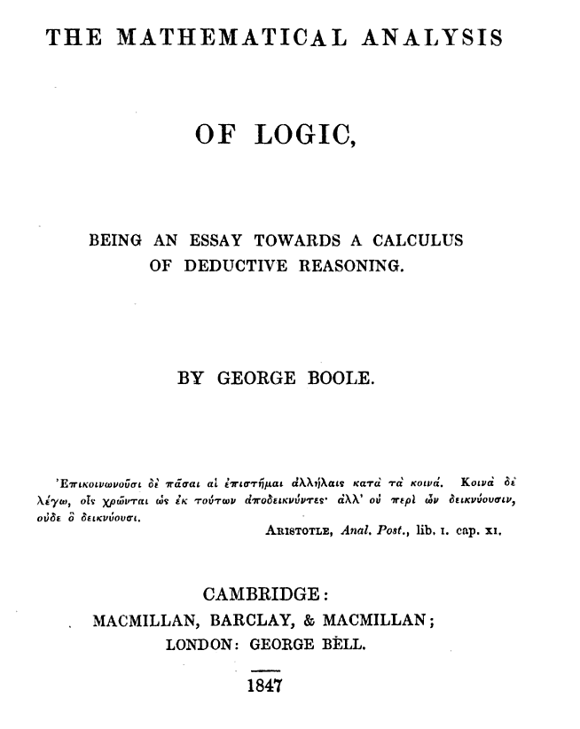 "Cover page of George Boole ""The Mathematical Analysis of Logic""(1847)"