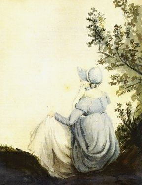 Watercolour of Jane Austen by her sister, Cassandra, 1804