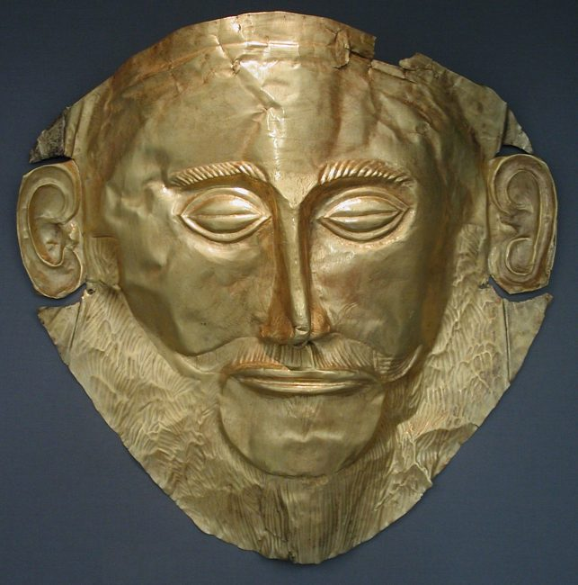 The 'Mask of Agamemnon', discovered by Heinrich Schliemann in 1876 at Mycenae now exhibited at the National Archaeological Museum of Athens.