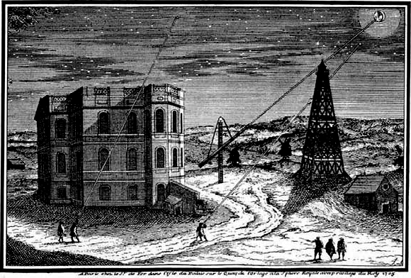 An engraving of the Paris Observatory during Cassini's time.