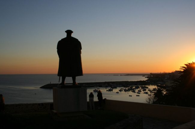 Rear view of statue of Vasco da Gama at Sines, looking out to sea due south