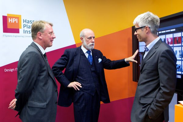 The author of the blog post (right) with Internet pioneer Vint Cerf (middle) and Christoph Meinel (left)