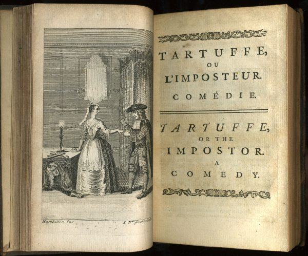 "rontispiece and titlepage of ""Tartuffe or The Imposter"" from a 1739 collected edition of his works in French and English, printed by John Watts. The engraving depicts the amoral Tartuffe being deceitfully seduced by Elmire, the wife of his host, Orgon who hides under a table."