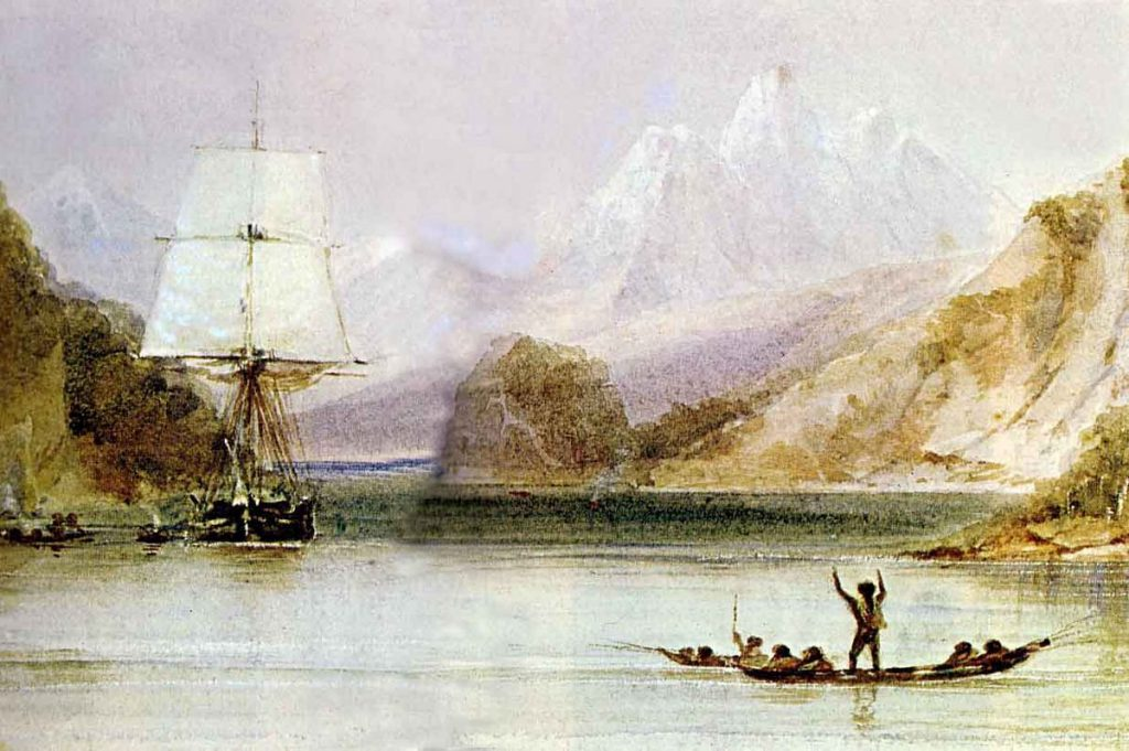 HMS Beagle in the seaways of Tierra del Fuego, painting by Conrad Martens
