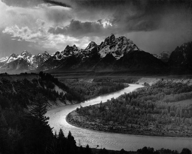 The Tetons and the Snake River (1942) Grand Teton National Park, Wyoming by Ansel Adams. Source: http://www.archives.gov/research/ansel-adams/