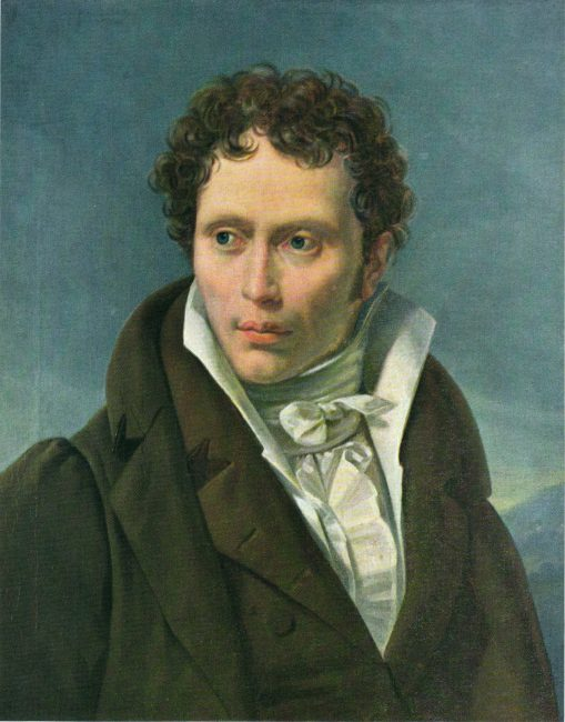 Schopenhauer in 1815, second of the critical five years of the initial composition of Die Welt als Wille und Vorstellung. Portrait by Ludwig Sigismund Ruhl