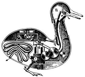 An American artist's (mistaken) drawing of how the Digesting Duck may have worked