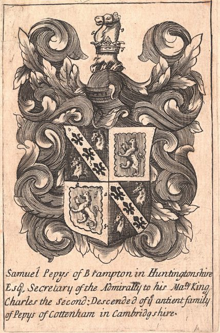 Bookplate, c. 1680–1690, with arms of Samuel Pepys:
