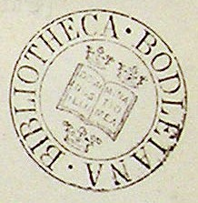 Ex libris stamp of Bodleian Library, circa. 1830.
