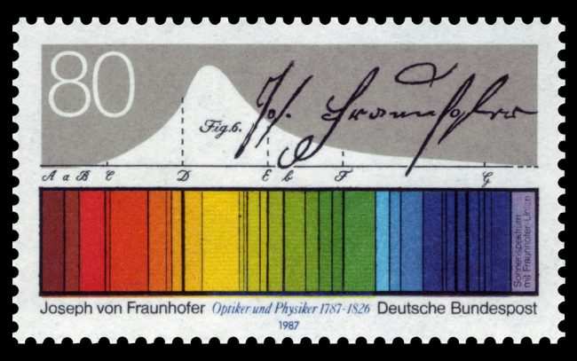 Stamp issued for the 200th birthday of Fraunhofer