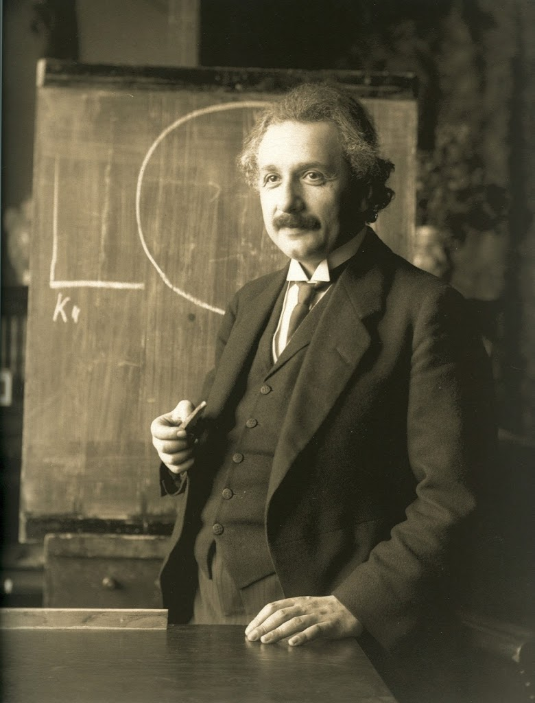 Albert Einstein during a lecture around 1921